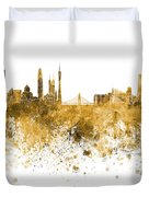 Guangzhou Skyline In Orange Watercolor On White Background Duvet Cover