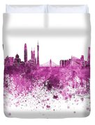 Guangzhou Skyline In Pink Watercolor On White Background Duvet Cover