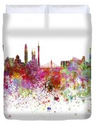 Guangzhou Skyline In Watercolor On White Background Duvet Cover