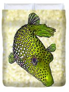 Guinea Fowl Puffer Fish In Green Duvet Cover