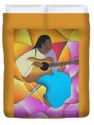 Guitar Player Duvet Cover by Sonya Walker