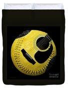 Guitar Yellow Baseball Square Duvet Cover