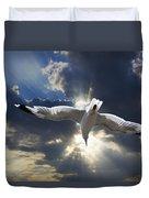 Gull Flying Under A Radiant Sunburst Duvet Cover