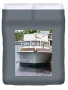 Gulls And Boat Duvet Cover