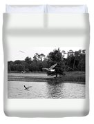 Gulls In Flight Mb083bw Duvet Cover