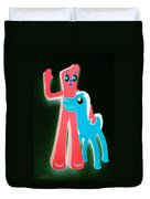 Gumby And Pokey B F F Negative Duvet Cover