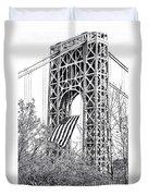 Gw Bridge American Flag In Black And White Duvet Cover