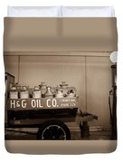 H And G Oil Company In Sepia Duvet Cover