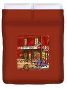 H. Piche Grocery - Goosevillage -paintings Of Montreal History- Neighborhood Boys Play Street Hockey Duvet Cover