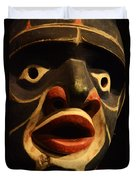 Haida Carved Wooden Mask 5 Duvet Cover