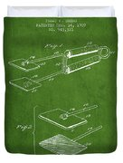 Hair Straightener Patent From 1909 - Green Duvet Cover