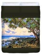 Hala Trees At Ka'anae Point Duvet Cover