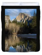 Half Dome And Cottonwoods Reflected In Merced River  Duvet Cover