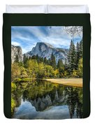 Half Dome Reflected In The Merced River Duvet Cover
