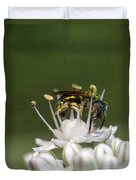 Halicid Bee Amongst The Anthers Duvet Cover