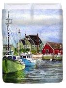 Peggys Cove Nova Scotia Watercolor Duvet Cover