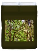 Hall Of Mosses In Hoh Rain Forest In Olympic National Park-washington Duvet Cover