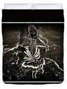 Halloween Green Skeleton Vinette Black And White Duvet Cover