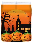 Halloween Jack O Lantern Pumpkins Illustration Duvet Cover
