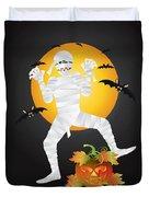 Halloween Mummy Carved Pumpkin Illustration Duvet Cover