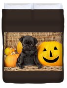 Halloween Pug Duvet Cover by Greg Cuddiford