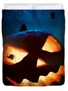 Halloween Pumpkin And Spiders Duvet Cover