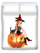 Halloween Witch Nicki With Kitten Duvet Cover