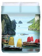 Halong Bay Sails 01 Duvet Cover by Rick Piper Photography