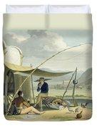 Halt Of A Boors Family, Plate 17 Duvet Cover
