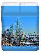 Hamburg Germany Sail Boat With Elbphilharmonie Duvet Cover