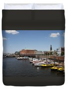 Hamburg Port With Fleet  Duvet Cover