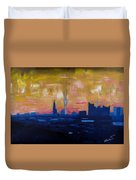 Hamburg Skyline At Dusk With Elbe Philharmonic Hall Duvet Cover