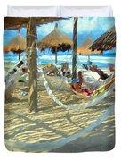 Hammocks And Palapas - Xel-ha Mexico Duvet Cover