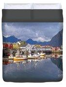 Hamnoy Fishing Village On Lofoten Islands Duvet Cover