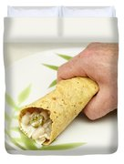 Hand Holding A Burrito Duvet Cover