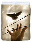 Hand Reaching Out For Bird Duvet Cover