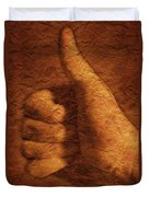 Hand With Thumbs Up Sign Duvet Cover