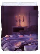 Handcuffs And Rose Petals On Bed Duvet Cover