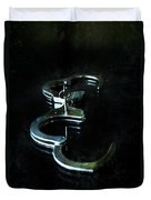 Handcuffs On Black Duvet Cover by Jill Battaglia