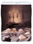 Handcuffs Ropes And Rose Petals On Bed Bdsm Sex Romantic Concept Duvet Cover