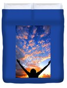 Hands Up To The Sky Showing Happiness Duvet Cover by Michal Bednarek
