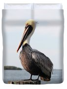 Handsome Brown Pelican Duvet Cover