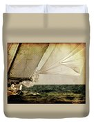 Hanged On Wind In A Mediterranean Vintage Tall Ship Race  Duvet Cover