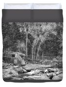 Hanging Bridge In Black And White Duvet Cover