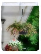 Hanging Flower Baskets On A Porch  Duvet Cover