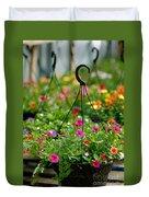 Hanging Flower Baskets Shallow Dof Duvet Cover
