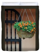 Hanging Flowers And Black Gate Duvet Cover