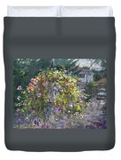Hanging Flowers From Balcony Duvet Cover