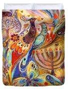 Hanukkah In Magic Garden Duvet Cover