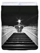 Ha'penny Bridge Steps - Dublin - Black And White Duvet Cover